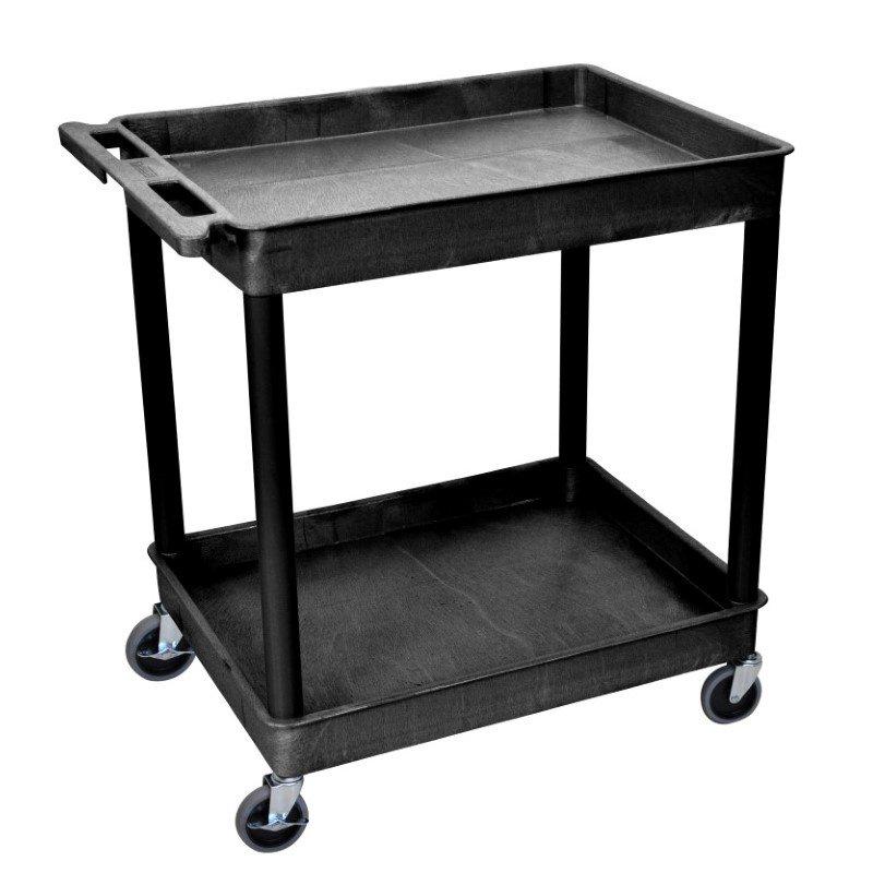 Luxor 2 Shelf Large Black Tub Cart (TC11-B)