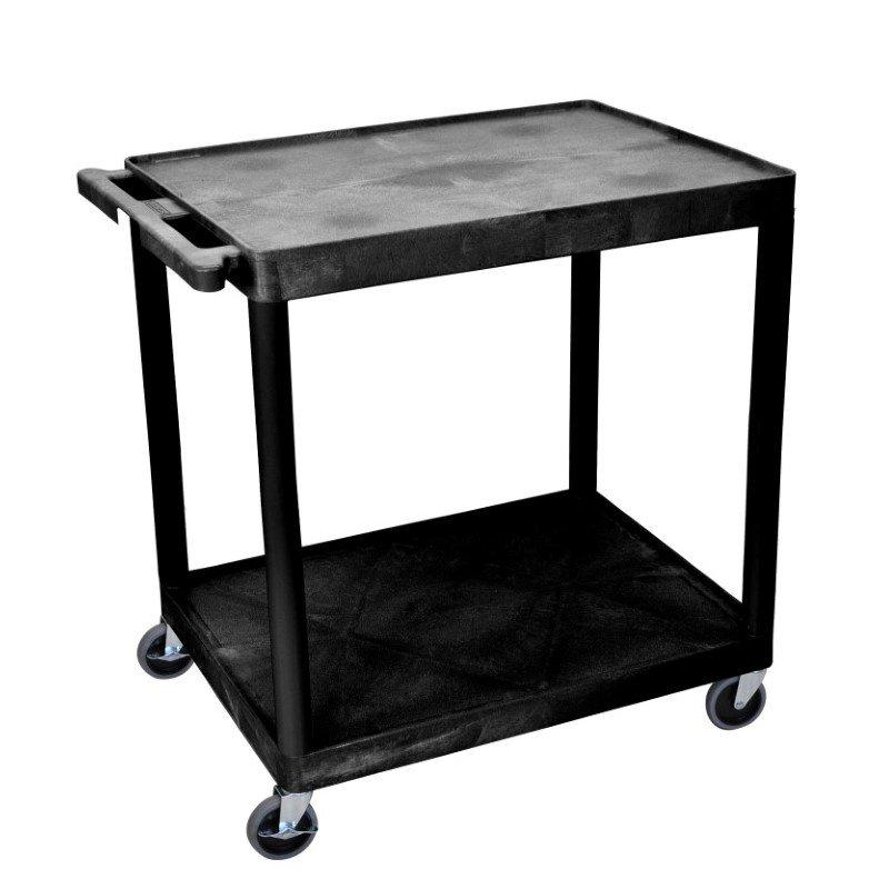 Luxor 2 Shelf Utility Cart Black (HE38-B)