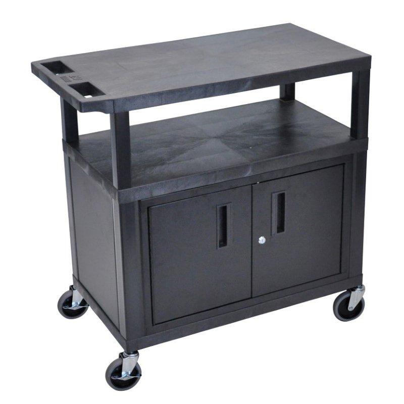 Luxor 3 Flat Shelves with Cabinet Black Presentation Station (EA34C-B)
