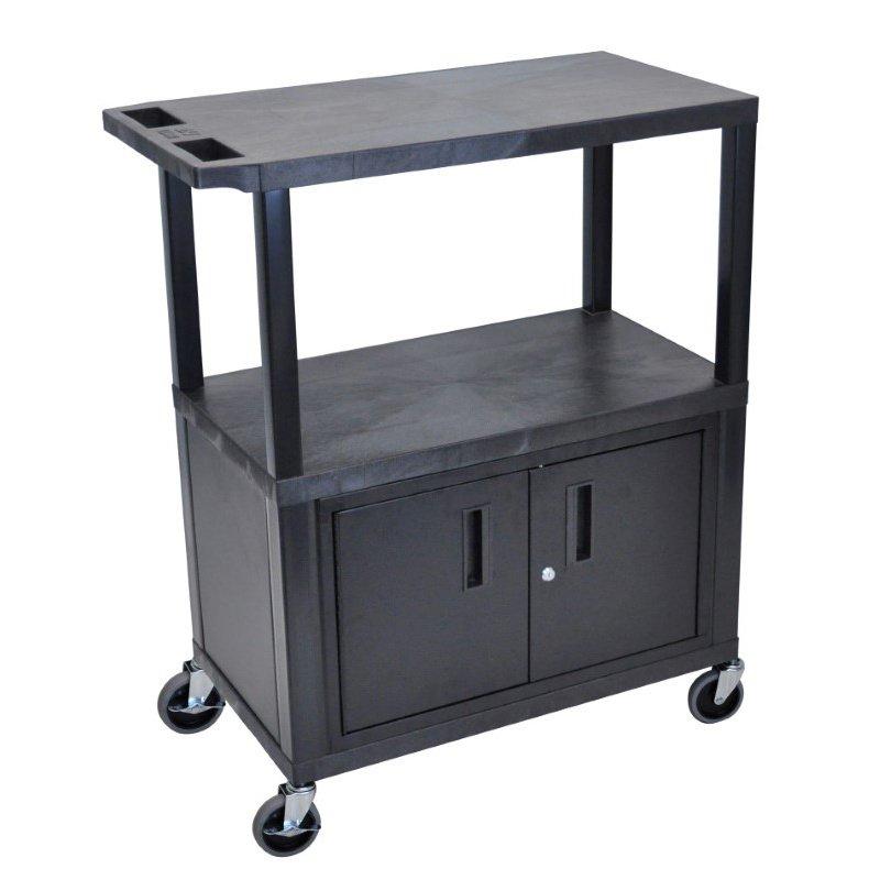 Luxor 3 Flat Shelves with Cabinet Black Presentation Station (EA42C-B)