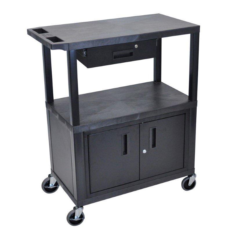 Luxor 3 Flat Shelves with Cabinet & Drawer Black Presentation Station (EA42CD-B)