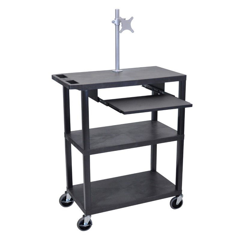 Luxor 3 Flat Shelves with Pullout Shelf with Monitor Mount Black Presentation Station (EA42LM-B)
