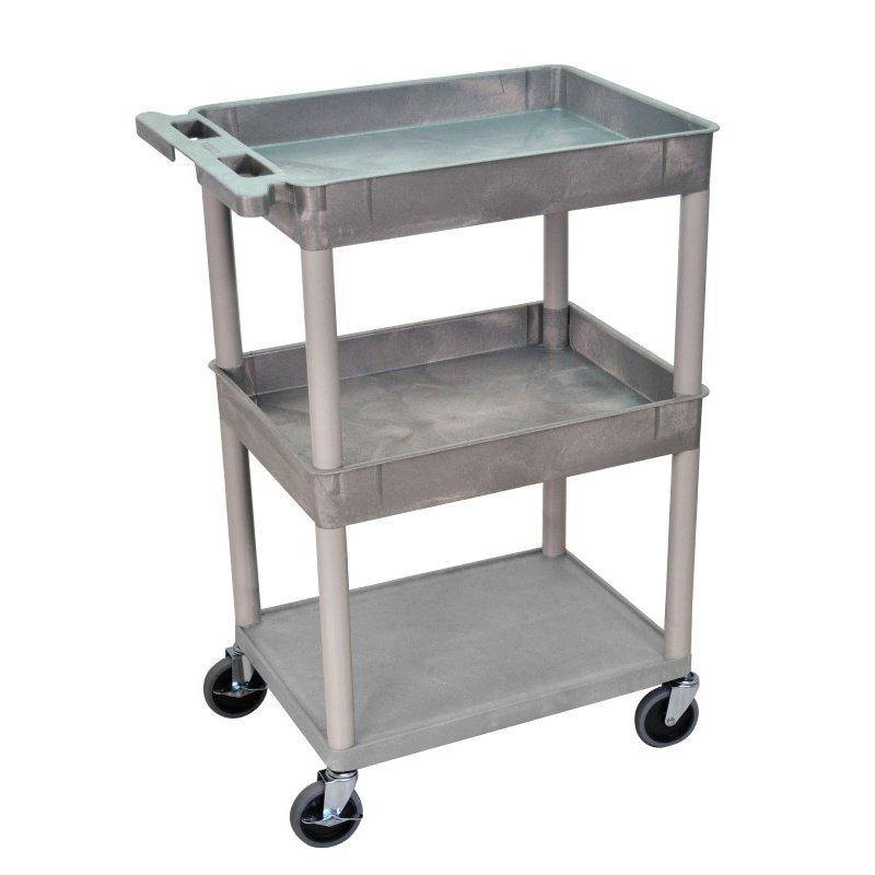 Luxor 3 Shelf Gray Tub Cart (STC112-G)