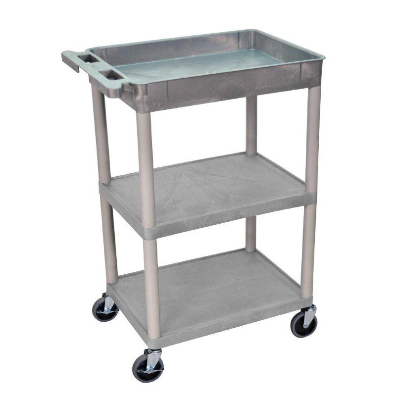 Luxor 3 Shelf Gray Tub Cart (STC122-G)