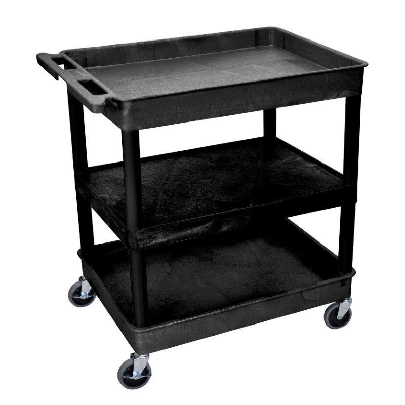 Luxor 3 Shelf Large Black Tub Cart (TC121-B)