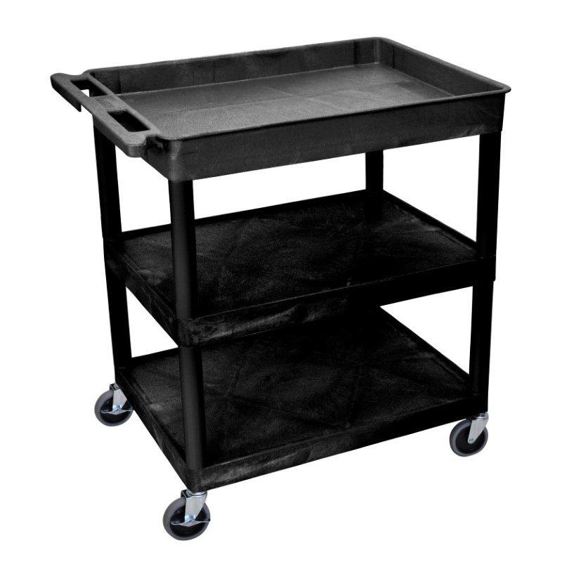 Luxor 3 Shelf Large Black Tub Cart (TC122-B)