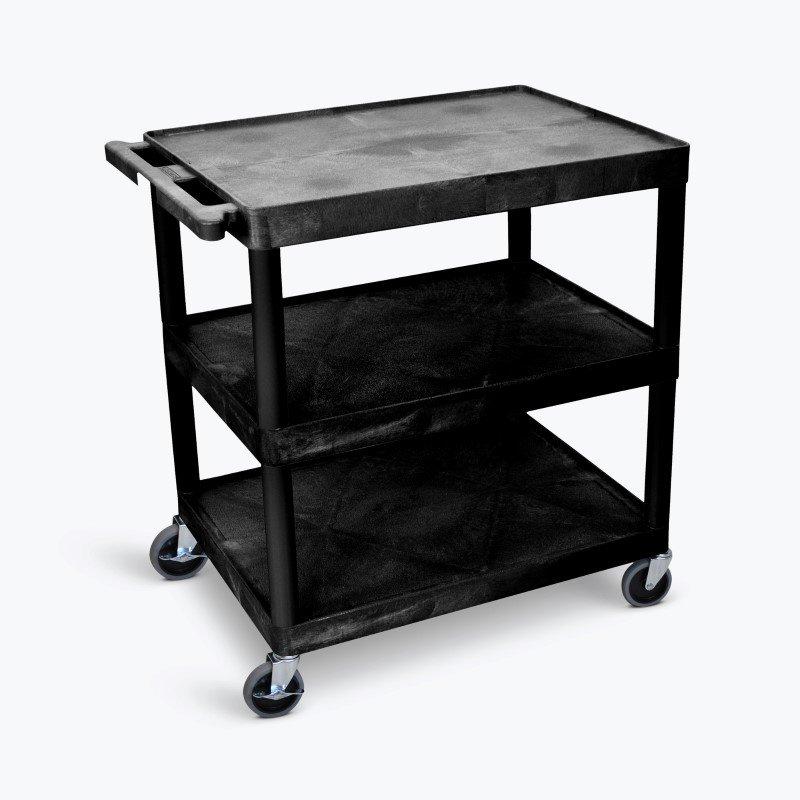 Luxor 3 Shelf Large Flat Tub Cart in Black (TC222-B)