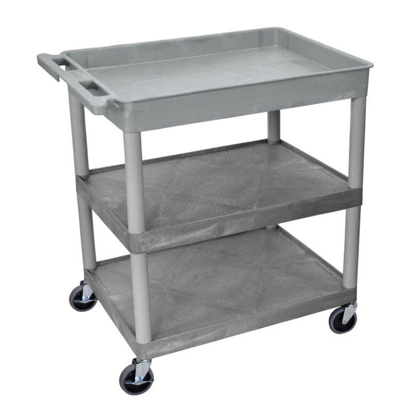 Luxor 3 Shelf Large Gray Tub Cart (TC122-G)