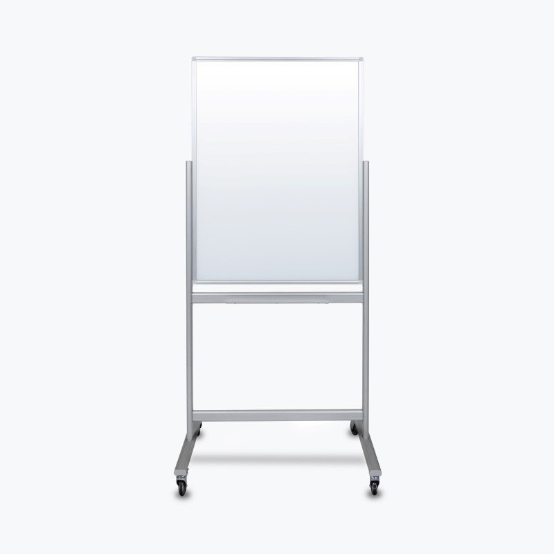 "Luxor 30""W x 40""H Double-Sided Mobile Magnetic Glass Marker Board in White (MMGB3040)"