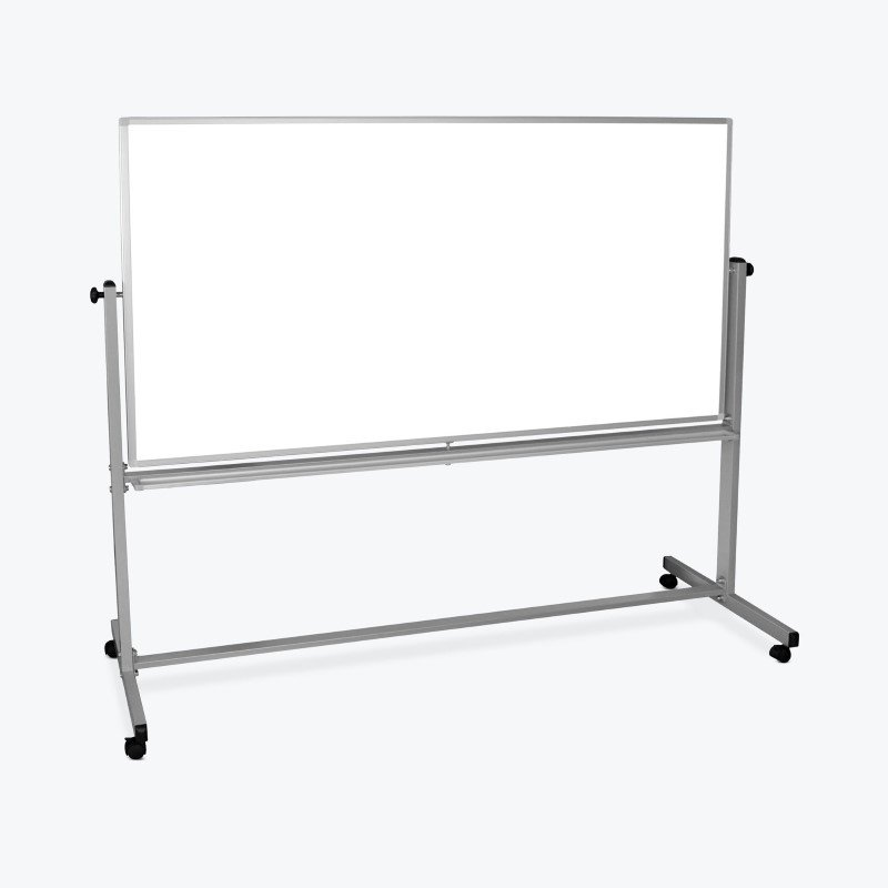 Luxor 72x48 Mobile Double Sided Whiteboard in Silver/White (MB7248WW)