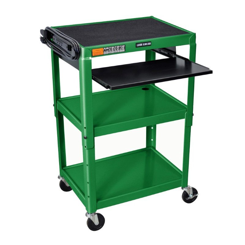 Luxor Adjustable Height Green Metal A/V Cart with Pullout Keyboard Tray (AVJ42KB-GN)