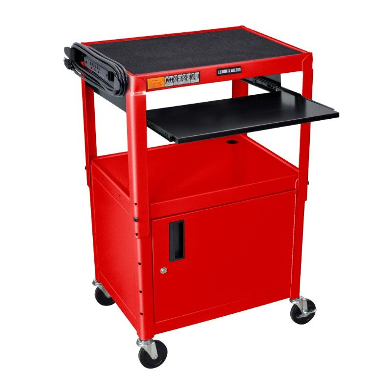 Luxor Adjustable Height Red Metal A/V Cart with Pullout Keyboard Tray and Cabinet (AVJ42KBC-RD)