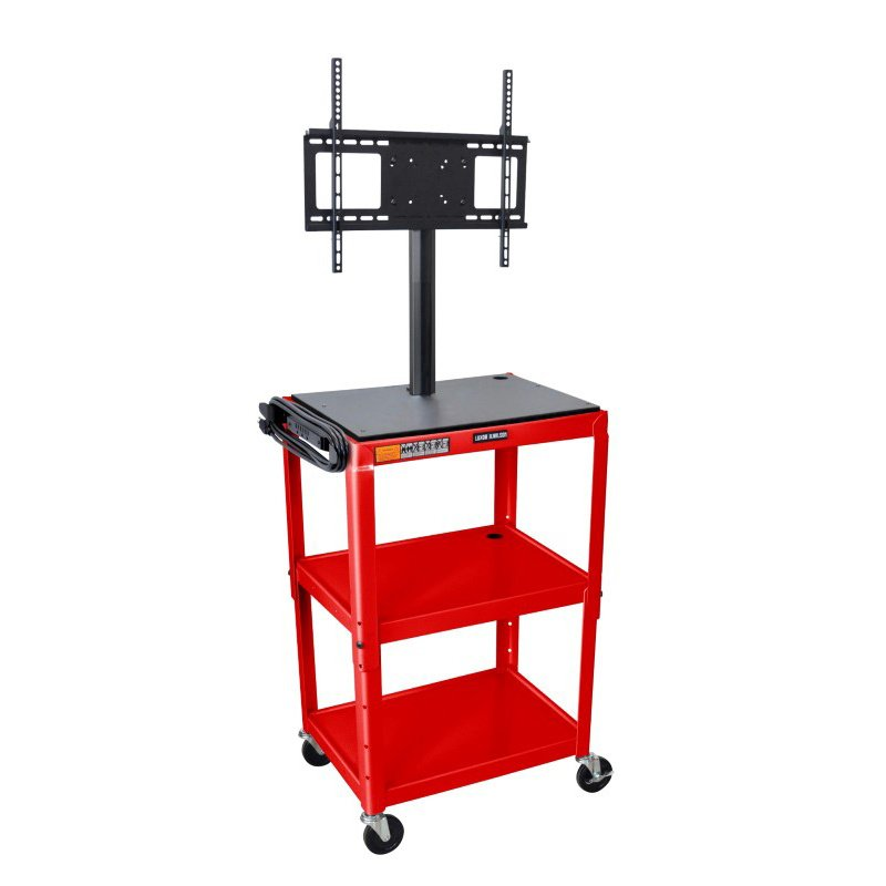 Luxor Adjustable Height Red Metal Cart with Flat Panel Mount (AVJ42-LCD-RD)