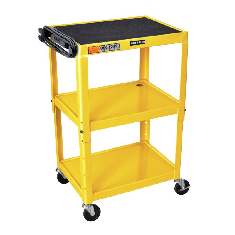 Luxor Adjustable Height Yellow Metal A/V Cart (AVJ42-YW)