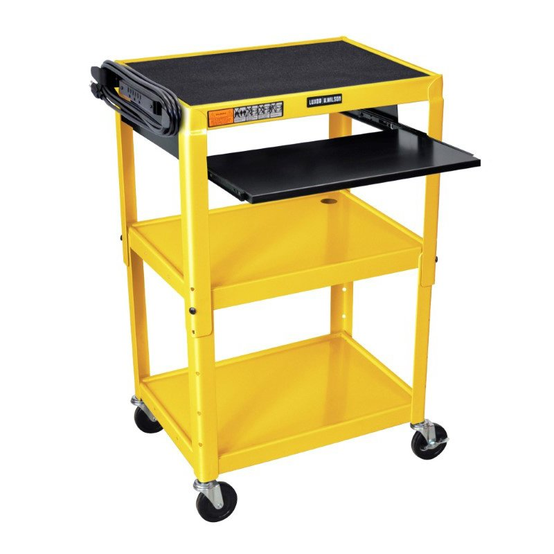 Luxor Adjustable Height Yellow Metal A/V Cart with Pullout Keyboard Tray (AVJ42KB-YW)