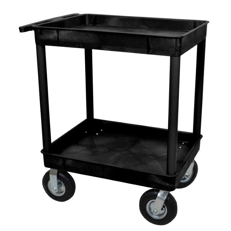 Luxor Black 24x32 2 Tub Cart with P8 Casters (TC11P8-B)
