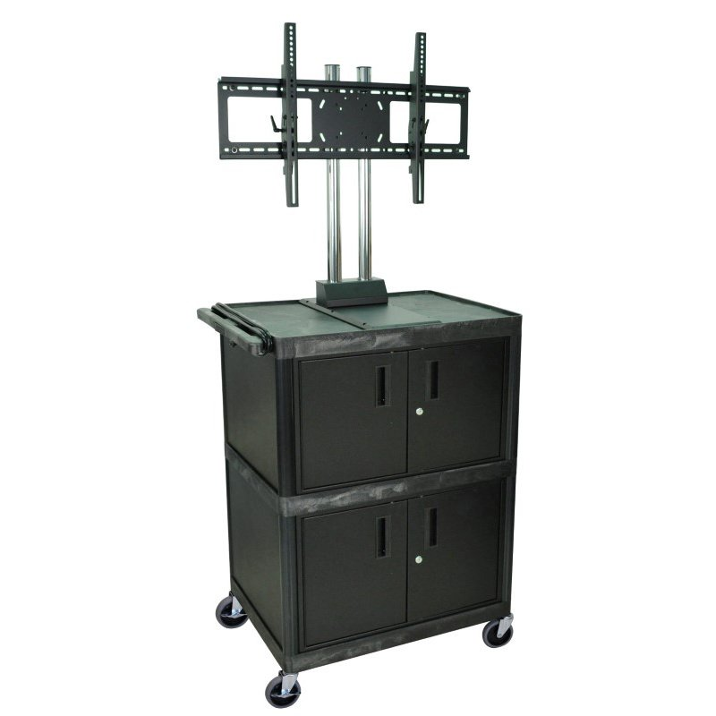 Luxor Black 3 Shelf Mobile Cart with 2 Cabinets and Universal LCD TV Mount (WPTV50E)