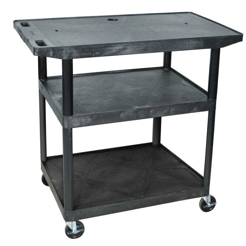 Luxor Black 3 Shelf with Wide Top Shelf A/V Cart (LE40WT-B)
