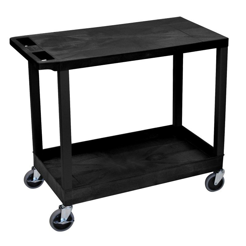 Luxor Black EC21 18x32 Cart with 1 Tub Shelf with 1 Flat Shelf (EC21-B)