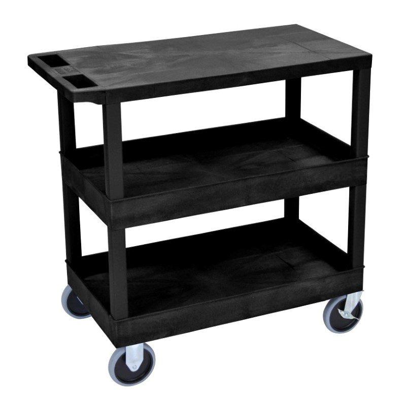 Luxor Black EC211HD 18x32 Cart with 2 Tub / 1 Flat Shelves (EC211HD-B)