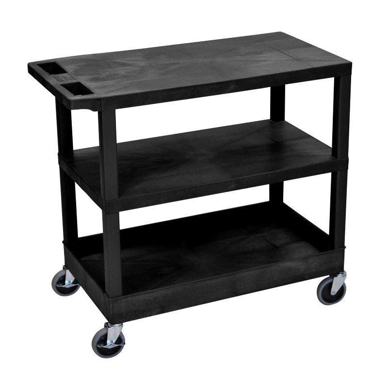Luxor Black EC221 18x32 Cart 2 Flat / 1 Tub Shelves (EC221-B)