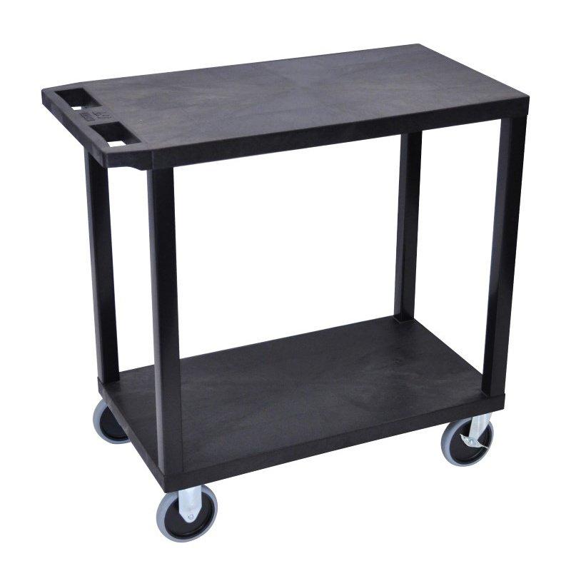 Luxor Black EC22HD 18x32 Cart with 2 Flat Shelves (EC22HD-B)