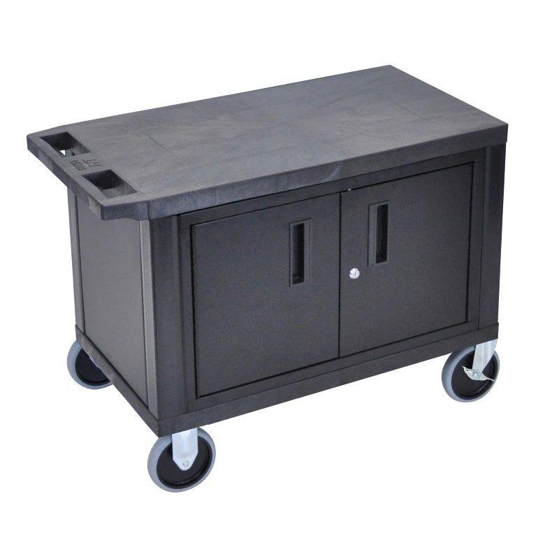 Luxor Black EC25CHD 18x32 Cart with 2 Shelves and Cabinet & Heavy Duty Casters (EC25CHD-B)