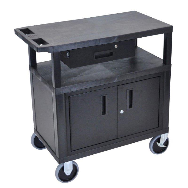 Luxor Black EC34CDHD 18x32 Cart with 3 Shelves - Cabinet & Drawer & Heavy Duty Casters (EC34CDHD-B)