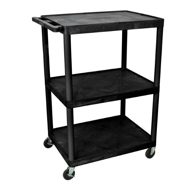 Luxor Black Endura 3 Shelf Cart (LE48-B)