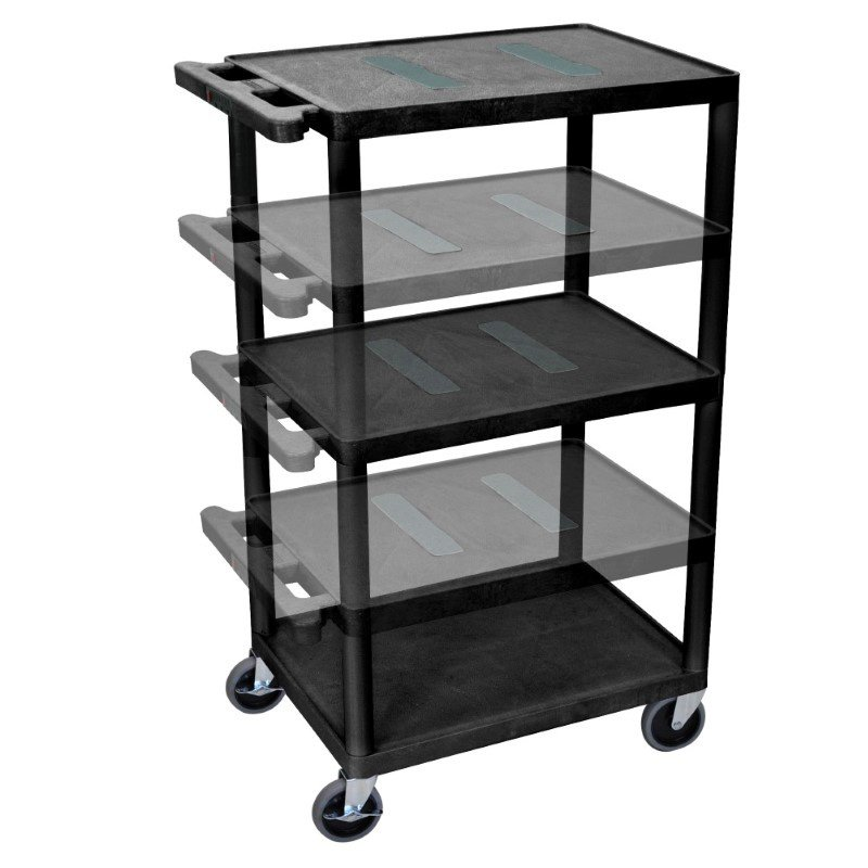 Luxor Black Endura Multi-Height 3 Shelf A/V Cart (LEDUO-B)
