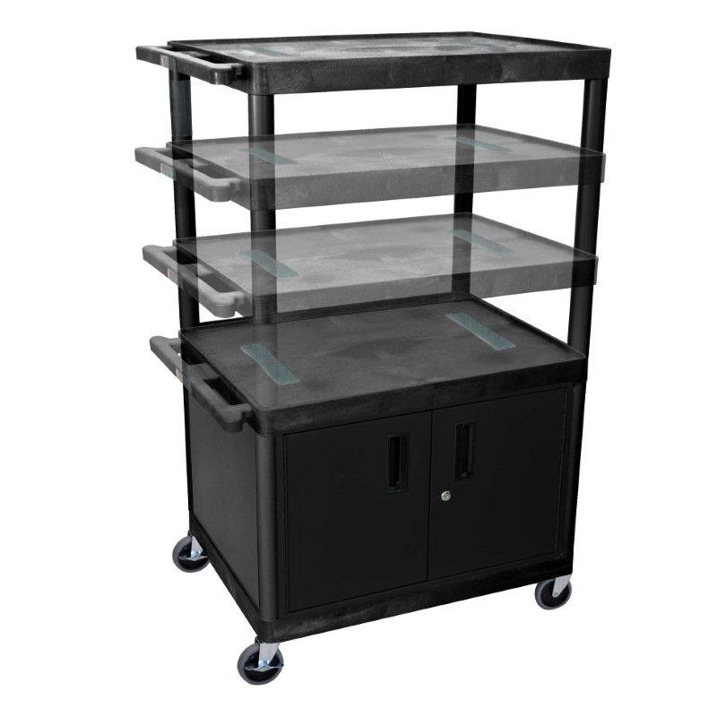 Luxor Black Endura Multi-Height 3 Shelf A/V Cart with Cabinet (LELDUOC-B)