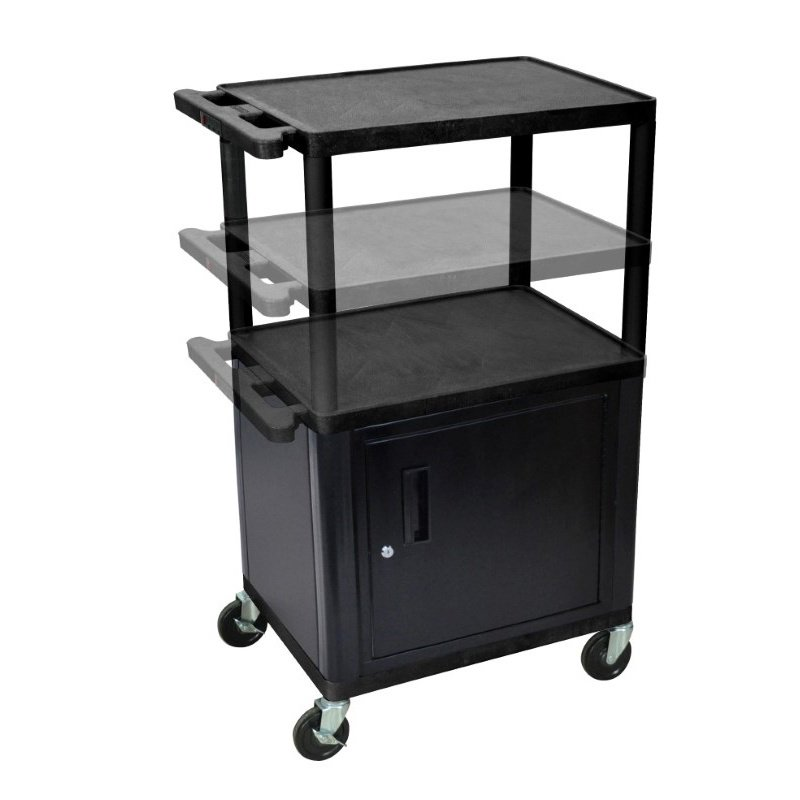 Luxor Black Endura Presentation Cart Multi Height with Cabinet & Electric (LPDUOCE-B)