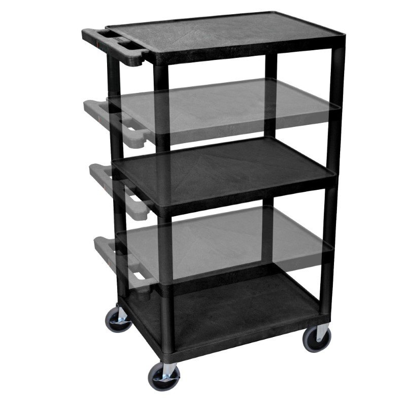 Luxor Black Endura Presentation Cart Multi Height with Electric (LPDUOE-B)