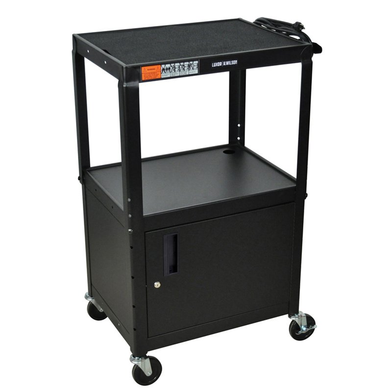 Luxor Black Metal 3 Shelf Presentation Cart with Cabinet (W42ACE)