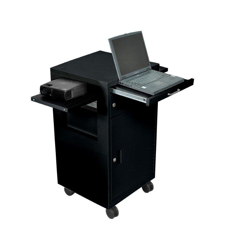 Luxor Black Steel Presentation Cart with 2 Drop Leaf & Pullout Tray (LMC2-B)