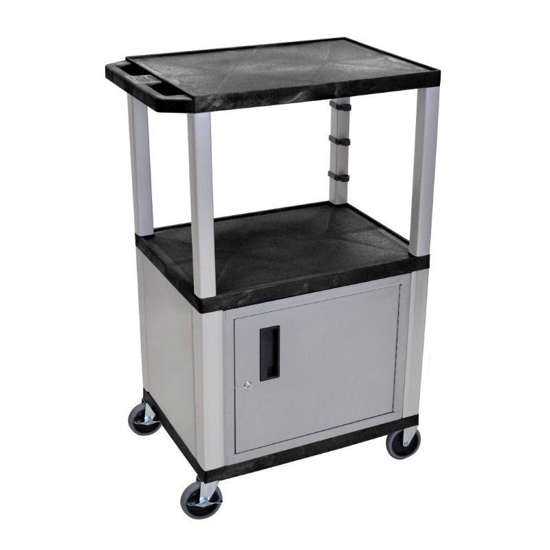 "Luxor Black Tuffy 3 Shelf 42"" AV Cart with Nickel Legs - Cabinet & Electric (WT42C4E-N)"