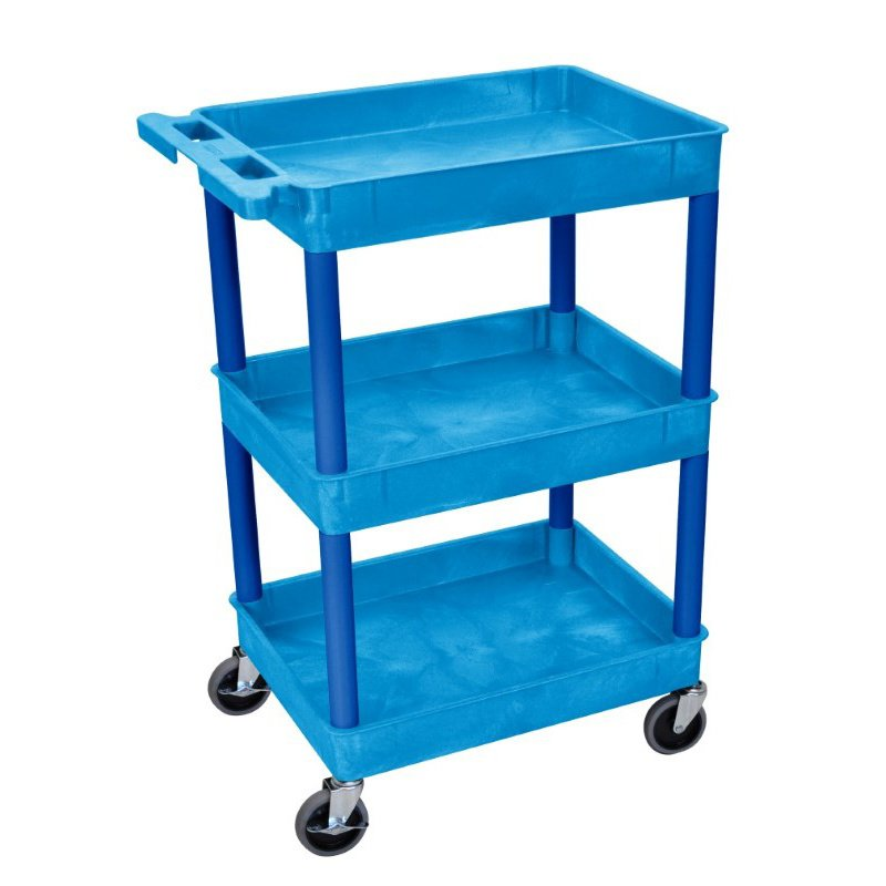 Luxor Blue 3 Shelf Tub Cart (BUSTC111BU)