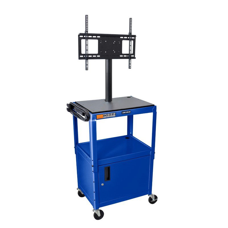 "Luxor Blue 42"" Adj Height Cart with Cabinet & LCD Mount (AVJ42C-LCD-RB)"