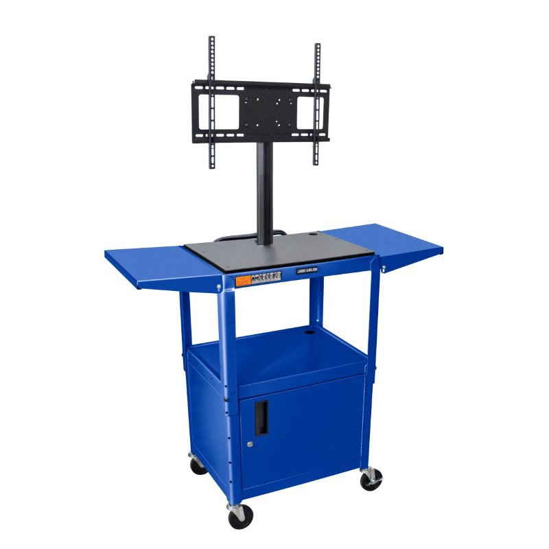 "Luxor Blue 42"" Adj Height Cart with Cabinet & LCD Mount & Drop Leaf Shelves (AVJ42CDL-LCD-RB)"