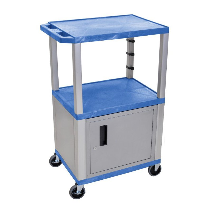 "Luxor Blue Tuffy 3 Shelf 42"" AV Cart with Nickel Legs - Cabinet & Electric (WT42BUC4E-N)"