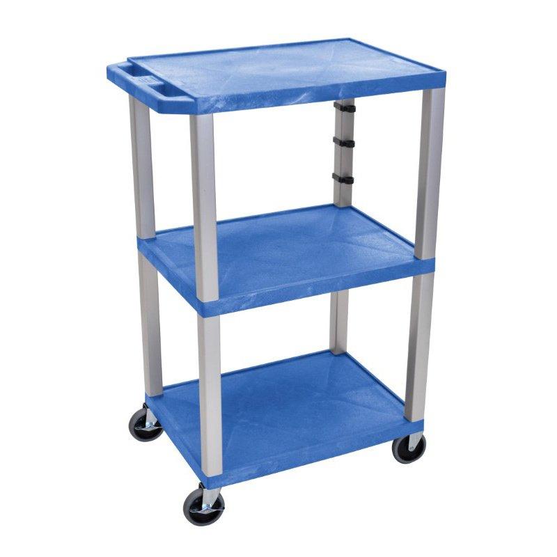 "Luxor Blue Tuffy 3 Shelf 42"" AV Cart with Nickel Legs & Electric (WT42BUE-N)"