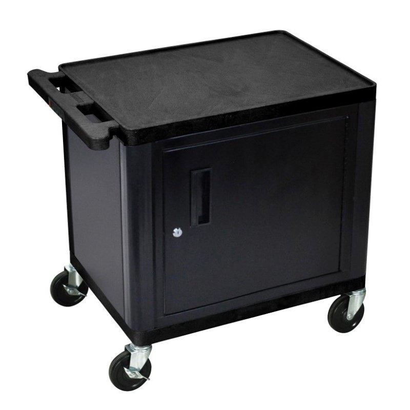 Luxor Endura A/V 2 Shelf Cart with Cabinet (LE26C-B)