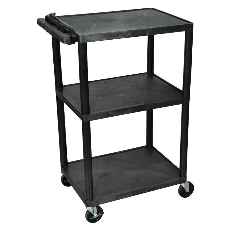 "Luxor Endura Black 3 Shelf Presentation Cart 42""H (LP42E-B)"