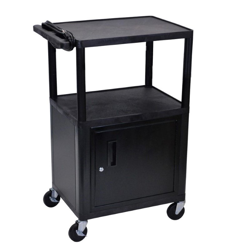 "Luxor Endura Black 3 Shelf Presentation Cart W Cabinet 42""H (LP42CE-B)"