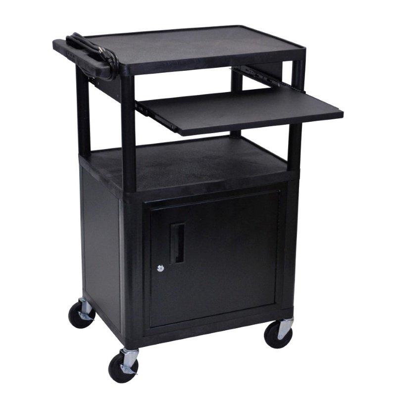 Luxor Endura Black 3 Shelf Presentation Cart W Cabinet & Pullout Shelf (LP42CLE-B)