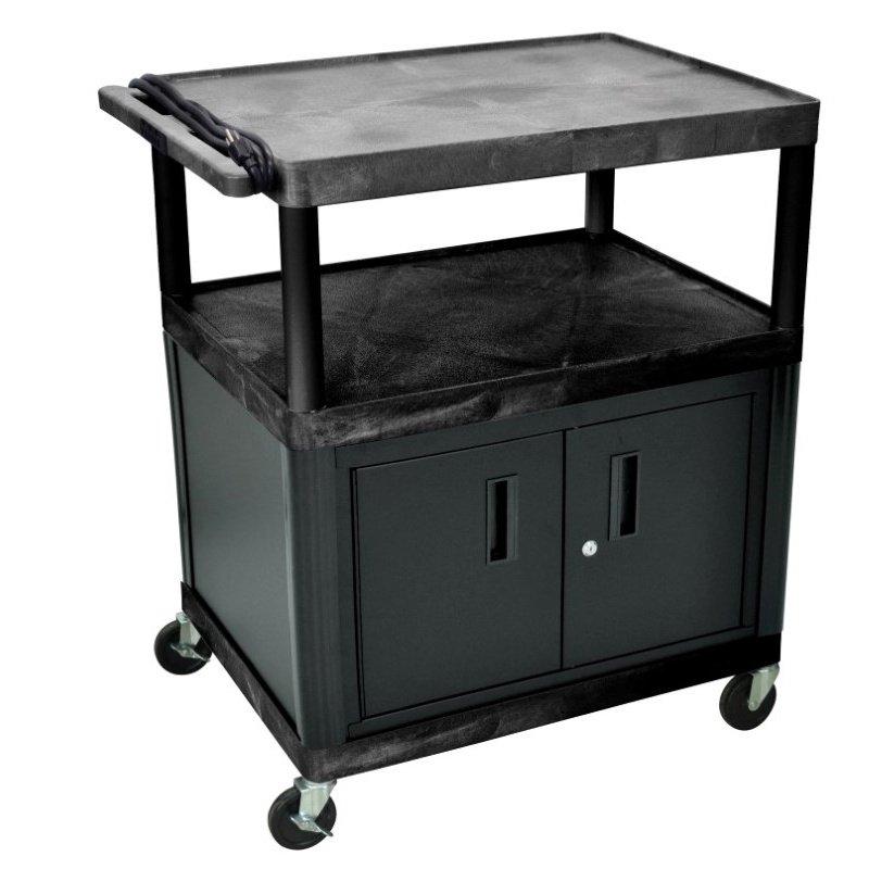 "Luxor Endura Black 3 Shelf Presentation Cart with Cabinet 40 1 / 4"" H (LP40CE-B)"