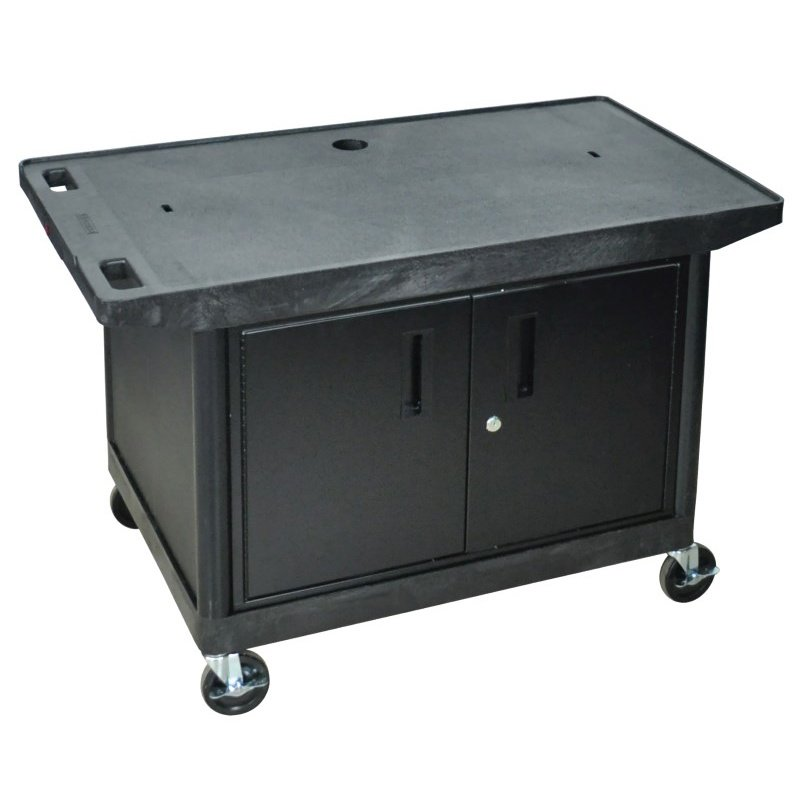 Luxor Endura Wide top Shelf Cart with Cabinet (LE27CWT-B)