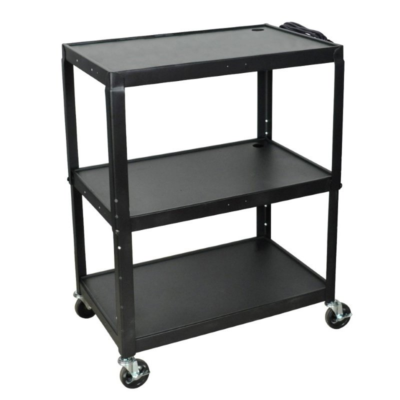 Luxor Extra Wide Steel Adjustable Height A/V Cart (AVJ42XL)