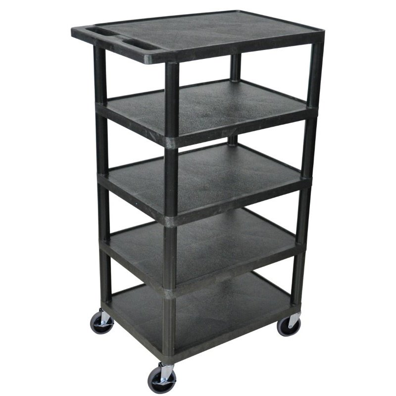 Luxor Five Flat Shelf Black Utility Cart (BC50-B)