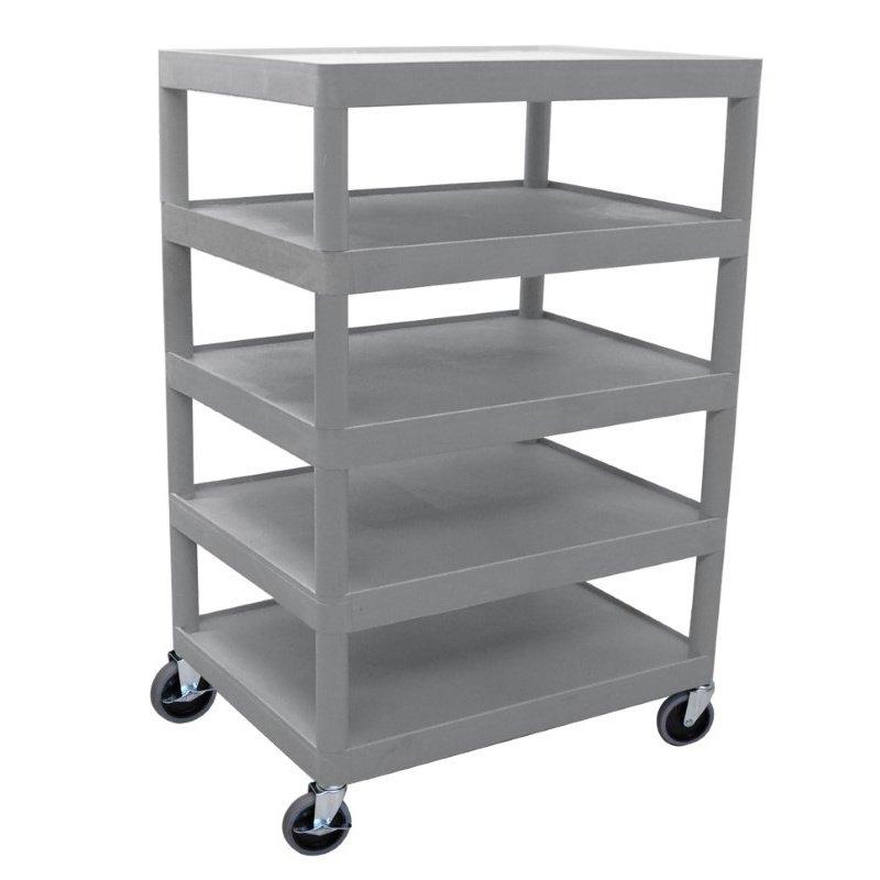 Luxor Five Flat Shelf Gray Utility Cart (BC55-G)